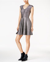 Bar III Metallic Fit & Flare Dress, Only at Macy's