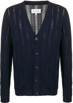 Maison Margiela open knit V-neck cardigan