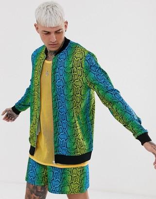 Asos Design DESIGN co-ord jersey bomber jacket in bright snake print-Multi