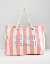 South Beach Stripe Canvas Bag with Rope Handle