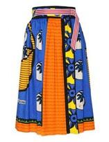 Stella Jean Blue Wrap Over Gabardine Skirt