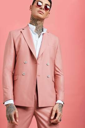 BoohoomanBoohooMAN Mens Pink Plain Double Breasted Skinny Fit Suit Jacket, Pink