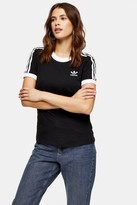adidas Black Ringer Three Stripe T-Shirt by