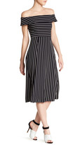 ABS by Allen Schwartz Pinstripe Off Shoulder Flared Dress
