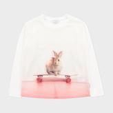 Paul Smith Girls' 7+ Years Cream 'Rabbit Skate' Print T-Shirt