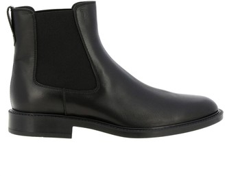 Tod's Ankle Boots In Smooth Leather With Elastic Bands And Rubber Sole