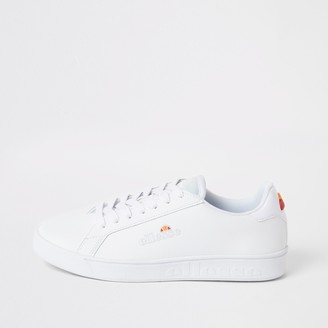 Ellesse River Island Womens White leather lace-up trainers