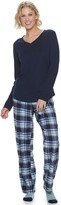 Sonoma Goods For Life Women's SONOMA Goods for Life Knit & Flannel 3 Piece Pajama Set With Socks