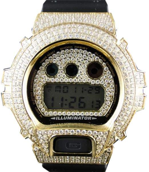 Casio G-Shock 6900 Yellow Gold Clear Simulated Diamond Mens Watch