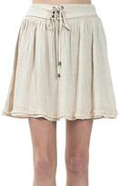 Bow & Arrow Khaki Lace-Up Linen-Blend Skirt