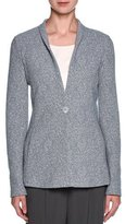 Giorgio Armani Marbled Unstructured One-Button Jacket, Light Gray
