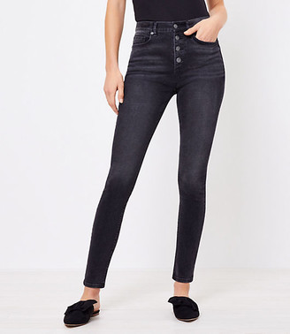 LOFT Plus High Rise Skinny Jeans in Washed Black Wash