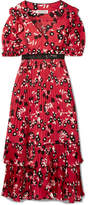 Self-Portrait Guipure Lace-trimmed Floral-print Crepe De Chine Dress - Red