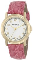 Pedre Women's 0231GX Gold-Tone with Pink Leather Strap Watch