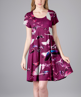 Aster Violet Butterfly A-Line Dress - Plus Too