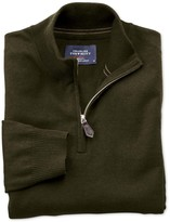 Charles Tyrwhitt Forest green cotton cashmere zip neck sweater