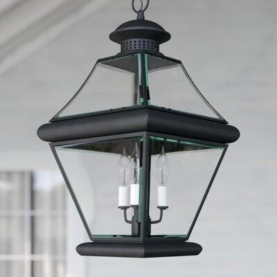 Three Posts Wiedeman 3 Bulb 19 5 H Outdoor Hanging Lantern Fixture Finish Mystic Black Shopstyle