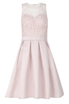 Quiz Pink Satin And Mesh 3D Flower Prom Dress