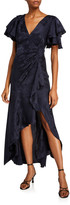 Tanya Taylor Clementine Flutter-Sleeve Silk Jacquard Dress
