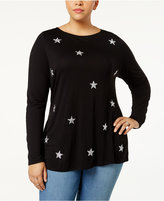 INC International Concepts Anna Sui Loves Plus Size Embellished Top, Created for Macy's