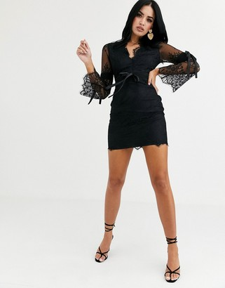 Love Triangle long sleeve mini dress with scalloped lace in black