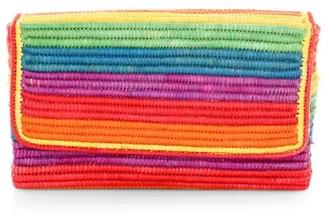 Poolside One Love Rainbow Raffia Clutch