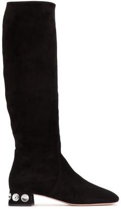 Miu Miu Crystal Embellished Suede Boots