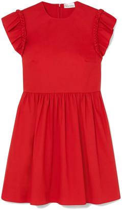 RED Valentino Braided Cotton-blend Poplin Mini Dress