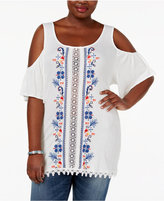 Eyeshadow Trendy Plus Size Embroidered Cold-Shoulder Top