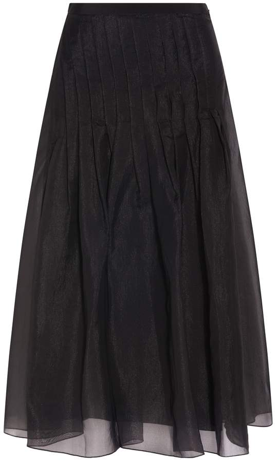 Tibi Isa Organza Pleated Skirt