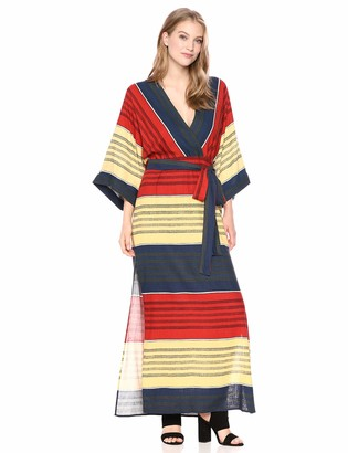 BCBGMAXAZRIA Azria Women's Striped Faux Wrap Maxi Dress
