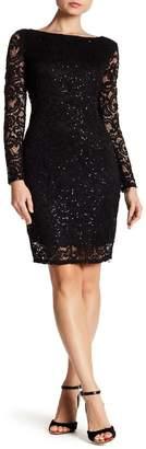 Marina Sequin Lace Long Sleeve Sheath Dress