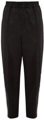 Y-3 Y 3 Wide-leg Wool-satin Track Trousers - Mens - Black White