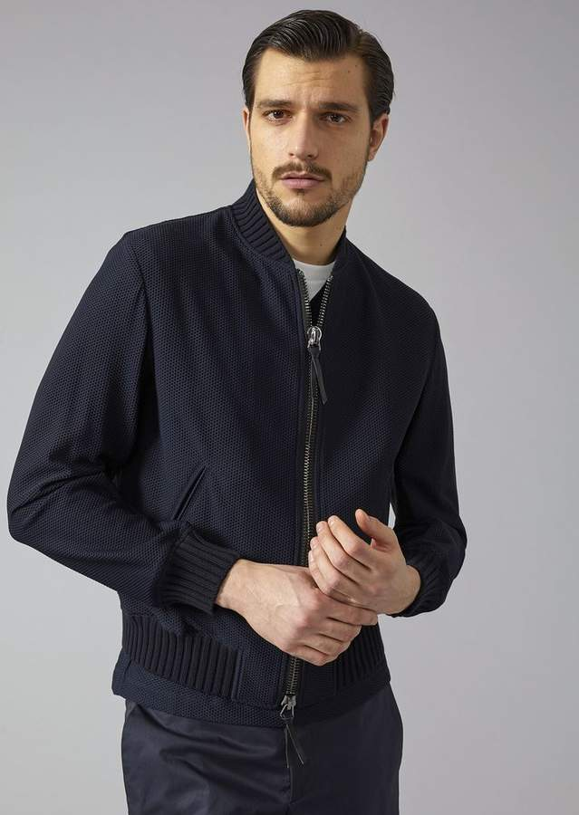 Giorgio Armani Honeycomb Technical Fabric Bomber Jacket