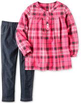 Carter's 2-Pc. Plaid Top & Denim Leggings Set, Toddler Girls (2T-4T)