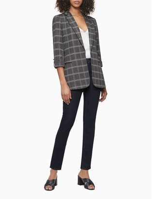 Calvin Klein Plaid Open Front Roll-Sleeve Jacket
