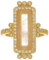 Freida Rothman 14K Gold Plated Sterling Silver CZ & Rose Quartz Bar Ring - Size 5