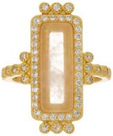 Freida Rothman 14K Gold Plated Sterling Silver CZ & Rose Quartz Bar Ring - Size 5