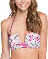 Betsey Johnson White Prisoner of Love Molded Bikini Top