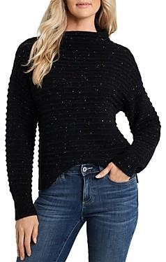 CeCe Speckled Mock Neck Sweater