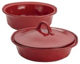 Rachael Ray Cucina Stoneware Set of 2 Round Casserole with Shared Lid - Red (1.5 qt and 2qt)