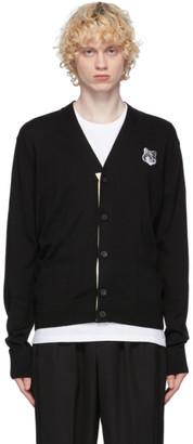 MAISON KITSUNÉ SSENSE Exclusive Black and Grey Wool Fox Head Patch Cardigan