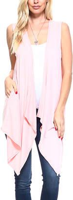 Blush B-Lush Isaac Liev Women's Cardigans Blush - Blush Drape-Front Sharkbite Vest - Women & Plus