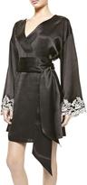 La Perla Maison Black Silk Satin Short Robe