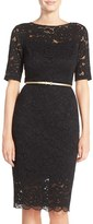Ellen Tracy Women's Belted Lace Sheath Dress