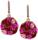 Betsey Johnson Gold-Tone Pink and Red Crystal Round Drop Earrings
