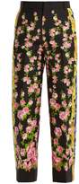 Gucci Rose-print cropped wool-blend cady trousers