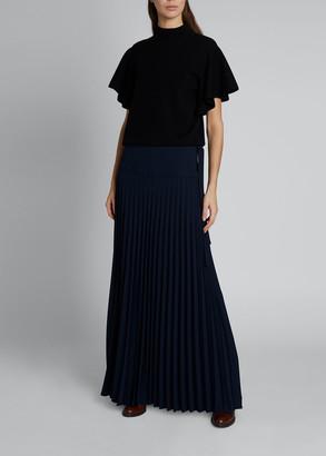 Chloé Wool-Blend Asymmetric Pleated Maxi Skirt