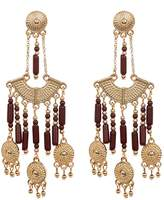 Steve Madden Bead Detail Textured Chandelier Drop Post Earrings