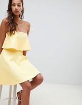 Asos Design DESIGN Bonded Lace Mini Skater Dress